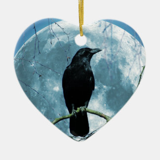 Crow Raven Moon Night Gothic Fantasy Stunning Christmas Ornament