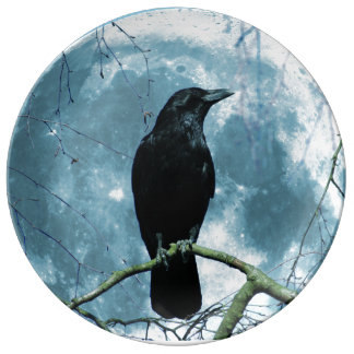 Crow Raven Moon Night Gothic Fantasy Stunning Porcelain Plate