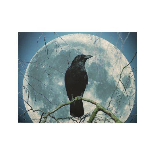 Crow Raven Moon Night Gothic Fantasy Stunning Wood