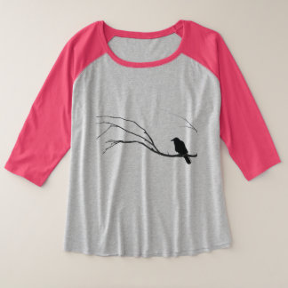 Crow Raven Sitting in Tree Plus Size Raglan T-Shirt