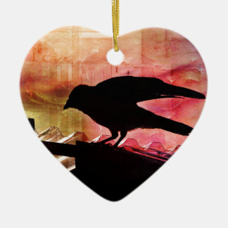 Crow Silhouette Christmas Ornament
