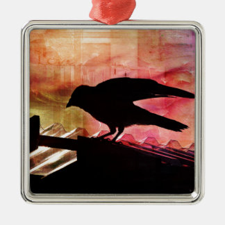Crow Silhouette Silver-Colored Square Decoration