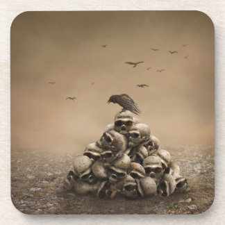 Crow Sitting On A Pile Of Sculls Beverage Coasters
