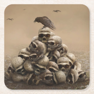 Crow Sitting On A Pile Of Sculls Square Paper Coaster