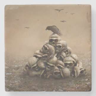 Crow Sitting On A Pile Of Sculls Stone Coaster