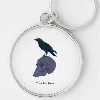 Crow Standing On A Human Skull Key Ring