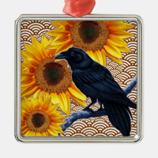 Crow Sunflowers Brown Pattern Gifts Silver-Colored Square Decoration