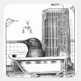 Crow Takes A Bath Stickers