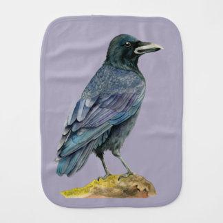 Crow Watercolor Painting Burp Cloth
