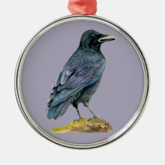 Crow Watercolor Painting Christmas Ornament