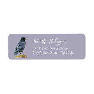 Crow Watercolor Painting Return Address Label