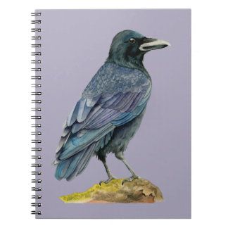Crow Watercolor Painting Spiral Notebook