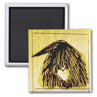 crow with a heART Square Magnet