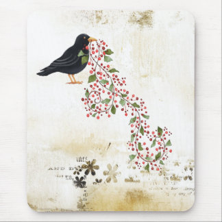 Crow With Vine Mouse Pad