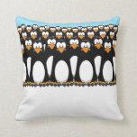 Crowd of Cartoon Penguins Throw Pill Pillows