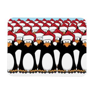 Crowd of Festive Penguins Rectangle Magnet