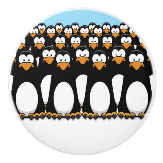 Crowd of Funny Cartoon Penguins on Snow Ceramic Knob
