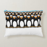 Crowd of Funny Cartoon Penguins on Snow Accent Pillow