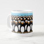 Crowd of Funny Cartoon Penguins on Snow Extra Large Mug