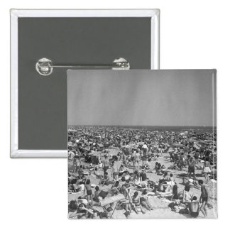 Crowd of people on beach B&W elevated view 15 Cm Square Badge