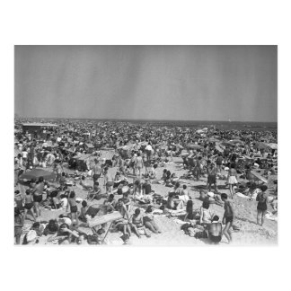 Crowd of people on beach B&W elevated view Post Card