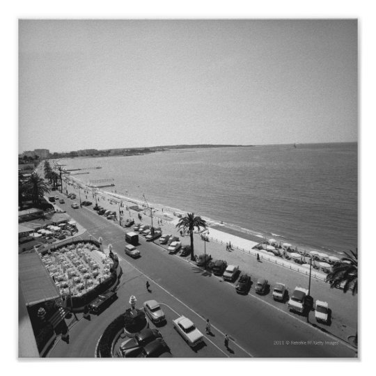 Crowd of people on beach B&W elevated view