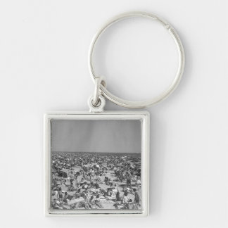 Crowd of people on beach B&W elevated view Silver-Colored Square Key Ring