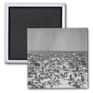 Crowd of people on beach B&W elevated view Square Magnet
