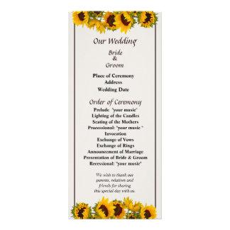 Crowd of Sunflowers Wedding Program Rack Card
