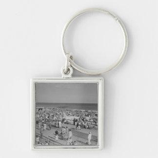 Crowd on Beach Key Ring