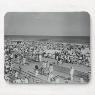 Crowd on Beach Mouse Mat