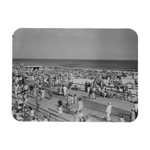 Crowd on Beach Rectangle Magnet