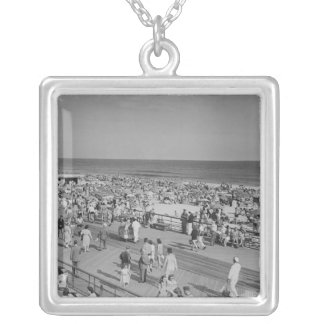 Crowd on Beach Silver Plated Necklace