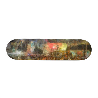 Crowd outside an event skateboard deck
