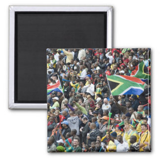 Crowd shot at a soccer game, with South African Magnet