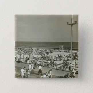 Crowded Beach 15 Cm Square Badge