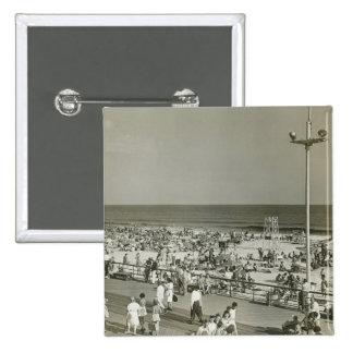 Crowded Beach 15 Cm Square Badge