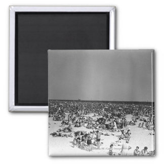 Crowded beach refrigerator magnet