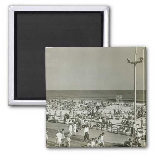 Crowded Beach Fridge Magnets