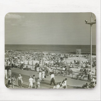 Crowded Beach Mouse Pads