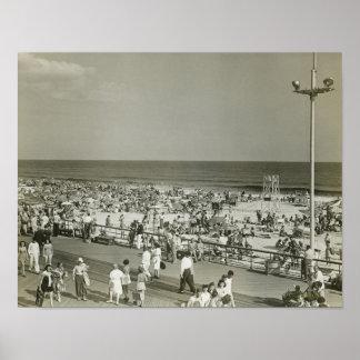 Crowded Beach Print