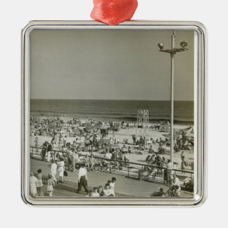 Crowded Beach Silver-Colored Square Decoration