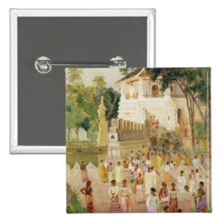 Crowds at a Monument in India, 1895 (w/c & pencil 15 Cm Square Badge