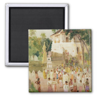 Crowds at a Monument in India 1895 w c pencil Refrigerator Magnet