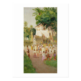 Crowds at a Monument in India, 1895 (w/c & pencil Postcard