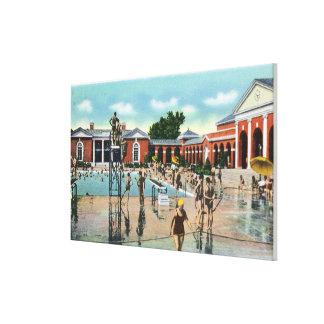 Crowds at Saratoga Spa Swimming Pool Canvas Print
