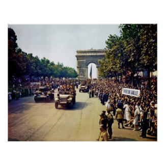 Crowds of French Patriots line the Champs Elysees Poster