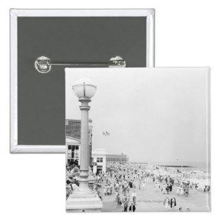 Crowds on esplanade 15 cm square badge