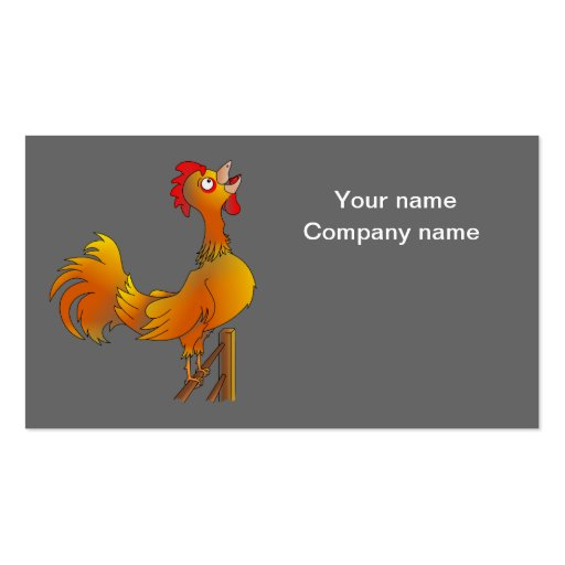 Crowing cartoon rooster business cards