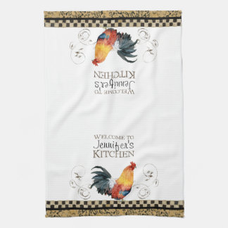Crowing Rooster Black & Tan Check Swirl Kitchen Tea Towel